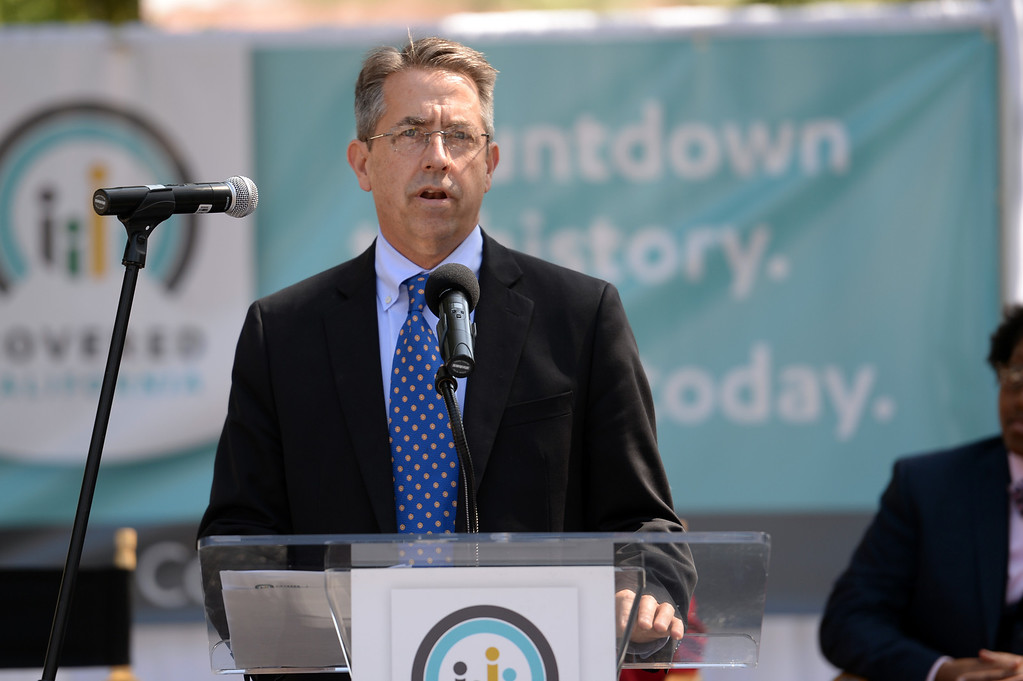 . Peter Lee, executive director for Covered California speaks during a rally on Olvera Street  to help kick off the final two weeks of health care enrollment through Covered California Thursday, March 13, 2014.  (Photo by Hans Gutknecht/Los Angeles Daily News)