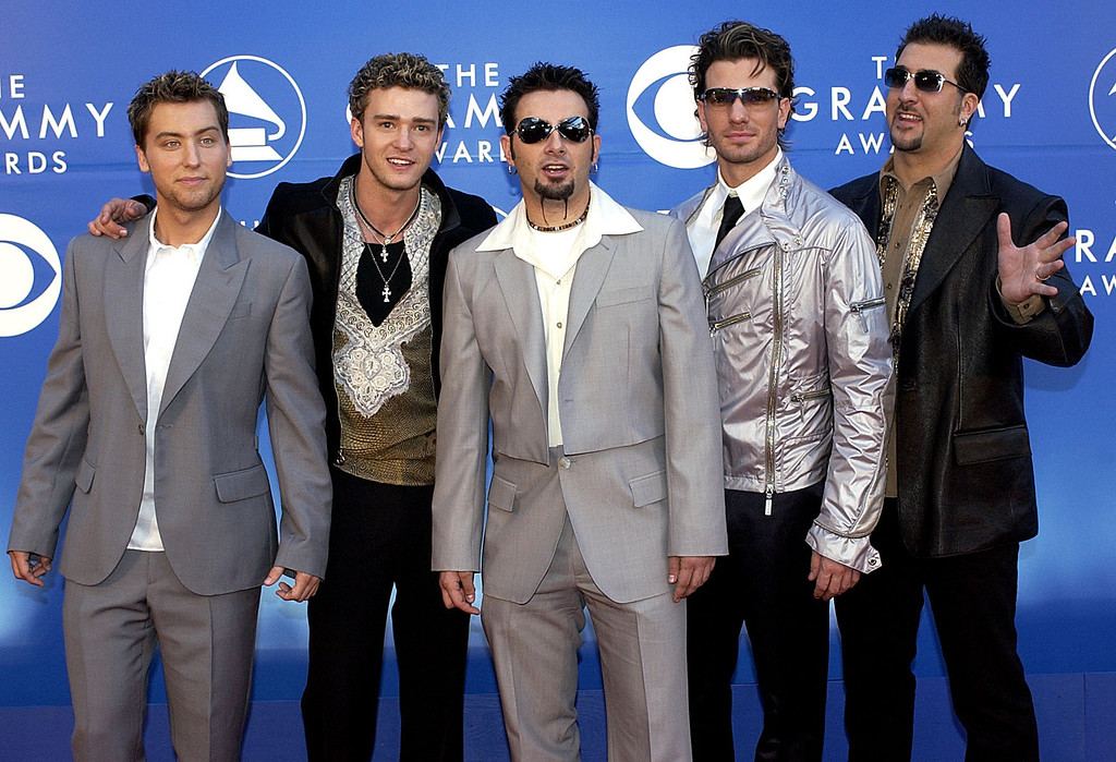 . Grammy-nominated pop group \'N Sync poses for photographers as they arrive at the 44th annual Grammy Awards, Wednesday, Feb. 27, 2002, at the Staples Center in Los Angeles. (AP Photo/Mark J. Terrill)