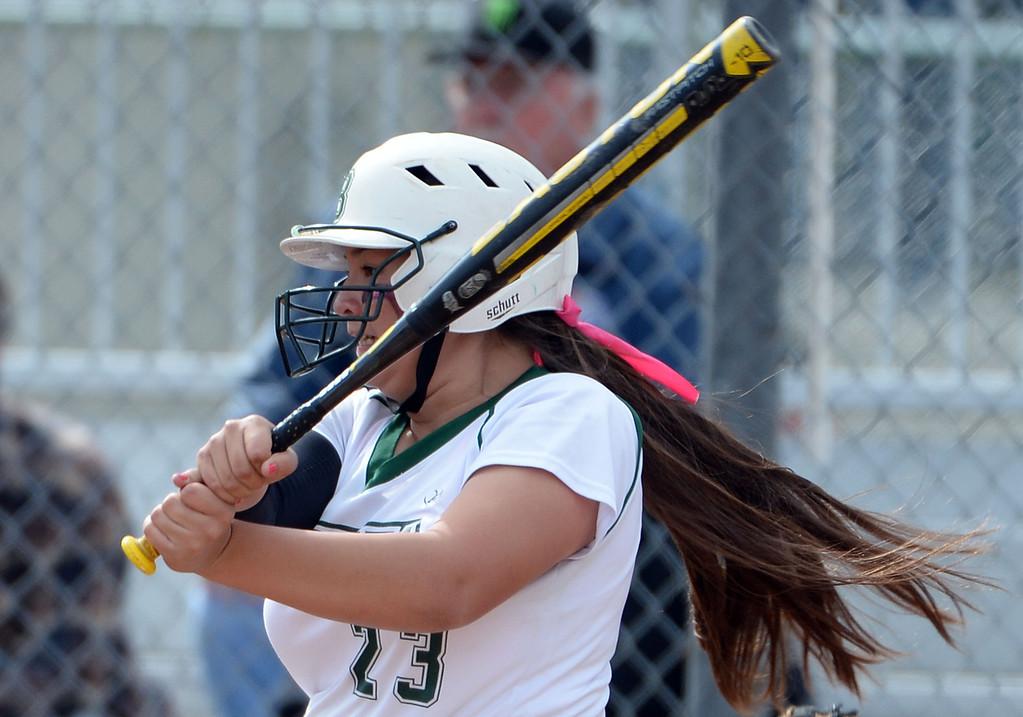 . Bonita\'s Veronica Ortega singles in the fourth inning of a prep softball game against West Covina at Los Flores Park in La Verne, Calif., on Thursday, March 27, 2014. Bonita won 6-3. (Keith Birmingham Pasadena Star-News)