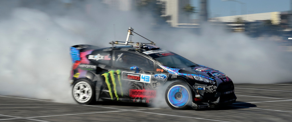 . Nov 5,2013 Las Vegas NV. USA. Ford gives free rides in their 2014 ford fiesta with monster driver Ken Block, during the first day of the 2013 SEMA auto show.