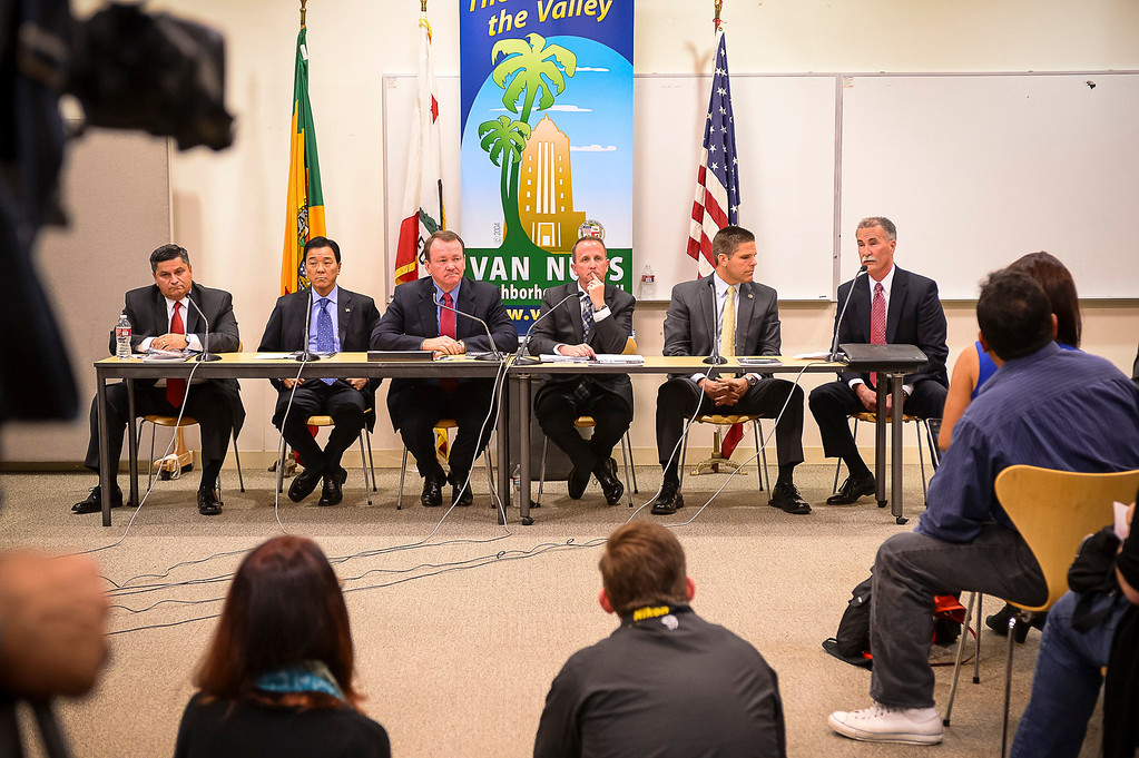 . L to R, Patrick Gomez, Paul Tanaka, Jim McDonnell, Lou Vince, James Hellmold and Robert Olmsted, candidates for Los Angeles County Sheriff, attend a debate at the Van Nuys Neighborhood Council on Wednesday, March 12, 2014. Assistant Sheriff Todd Rogers did not attend, having already committed to participate in a live radio broadcast. (Photo by David Crane/Los Angeles Daily News)