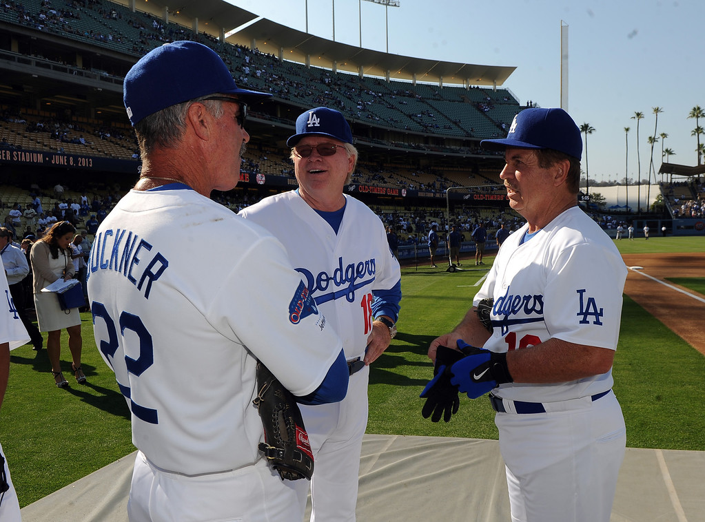 . FormerLos Angeles Dodgers Bill Buckner, left, with Bill Russell and Ron Cey during the Old-Timers game prior to a baseball game between the Atlanta Braves and the Los Angeles Dodgers on Saturday, June 8, 2013 in Los Angeles.   (Keith Birmingham/Pasadena Star-News)