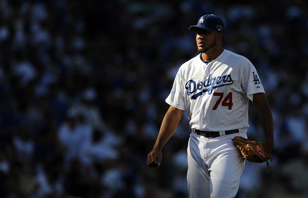 . Dodgers\' closer Kenley Jansen walks on to the field in the 9th during game 5 of the NLCS at Dodger Stadium Wednesday, October 16, 2013. The Dodgers beat the Cardinals 6-4. (Photo by Hans Gutknecht/Los Angeles Daily News)