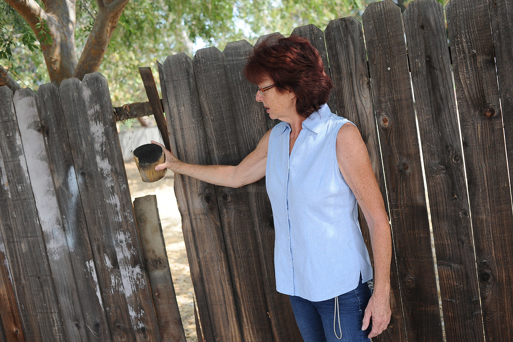 . Terri Mongiello shows how a piece of debris broke through a fence in her frontyard on Leeds St. during a Fourth of July fireworks accident at Rancho Santa Susana Community Park in Simi Valley, CA July 5, 2013.  The accident left 28 people injured. (Andy Holzman/Los Angeles Daily News)
