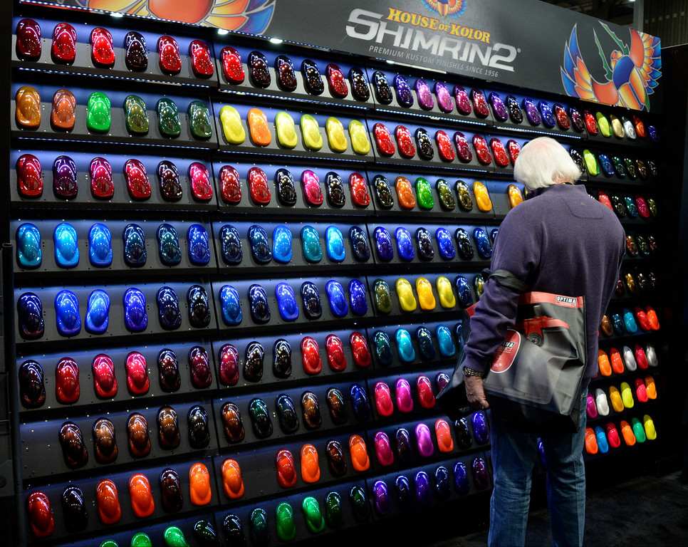 . Nov 6,2013 Las Vegas NV. USA. So many colors to choose from the Shimarin booth, during the second day of the 2013 SEMA auto show.