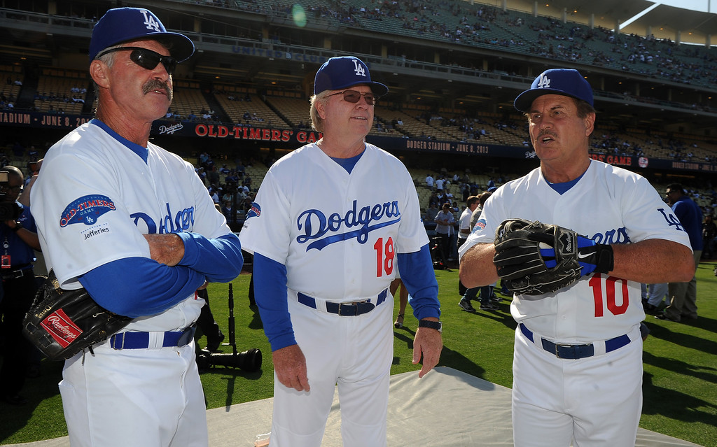 . during the Old-Timers game prior to a baseball game between the Atlanta Braves and the Los Angeles Dodgers on Saturday, June 8, 2013 in Los Angeles.   (Keith Birmingham/Pasadena Star-News)