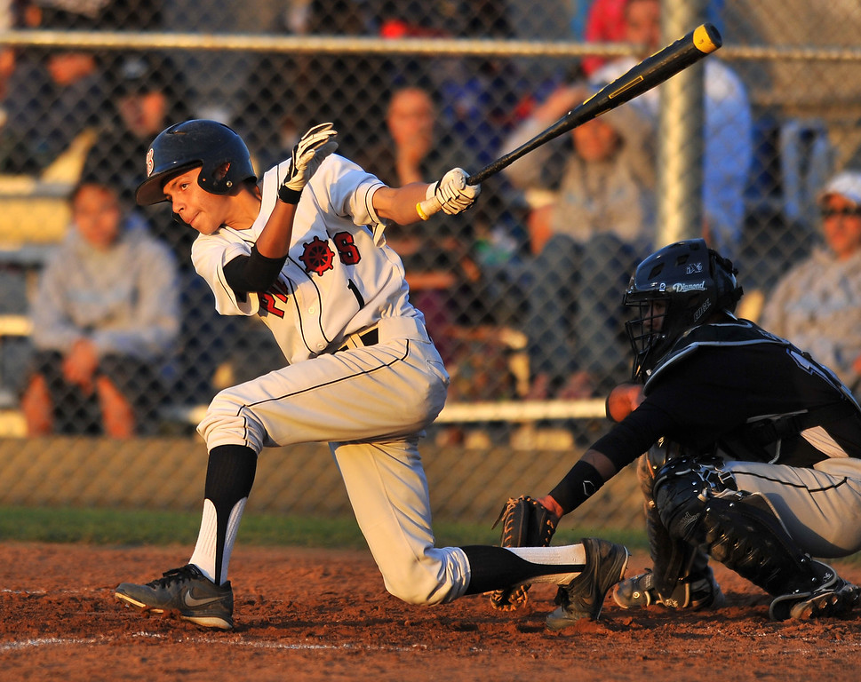 . WILMINGTON - 05/02/2013  (Photo: Scott Varley, Los Angeles Newspaper Group)  Carson vs Banning baseball at Banning High. Banning\'s Julian Villegas hits an RBI single in the 1st.
