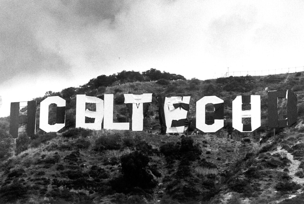 ". Pranksters using black and white canvas changed the sign to read ""CALTECH\"".  (L.A. Daily News file photo)"