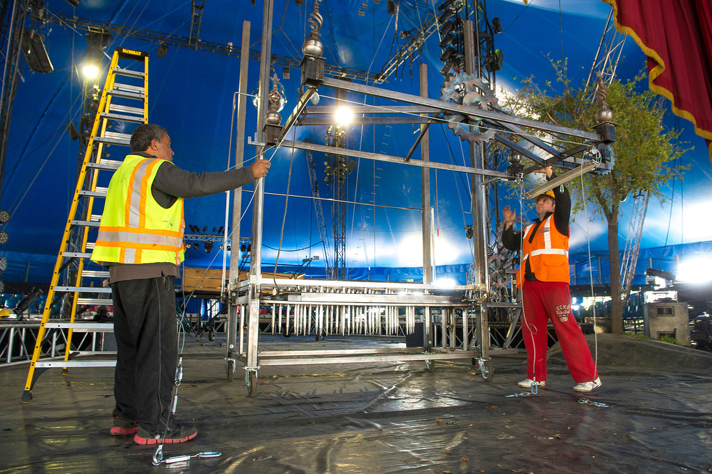 """. Circus Vargas crew members set up the \"""" Table of Death\"""",  for the Thursday night opening, at Ontario Mills Mall, on Wednesday, March 26, 2014. (Photo by Frank Perez for the Daily Bulletin)"""