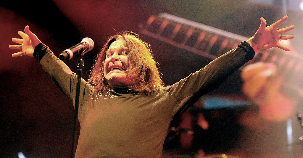 . Ozzy Osbourne of Black Sabbath performs along with guitarist Tony Lommi, bassist Geezer Butler and drummer Tommy Clufetos at the Verizon Wireless Amphitheatre on Wednesday, Aug. 28, 2013 in Irvine, Calif.   (Keith Birmingham/Pasadena Star-News)