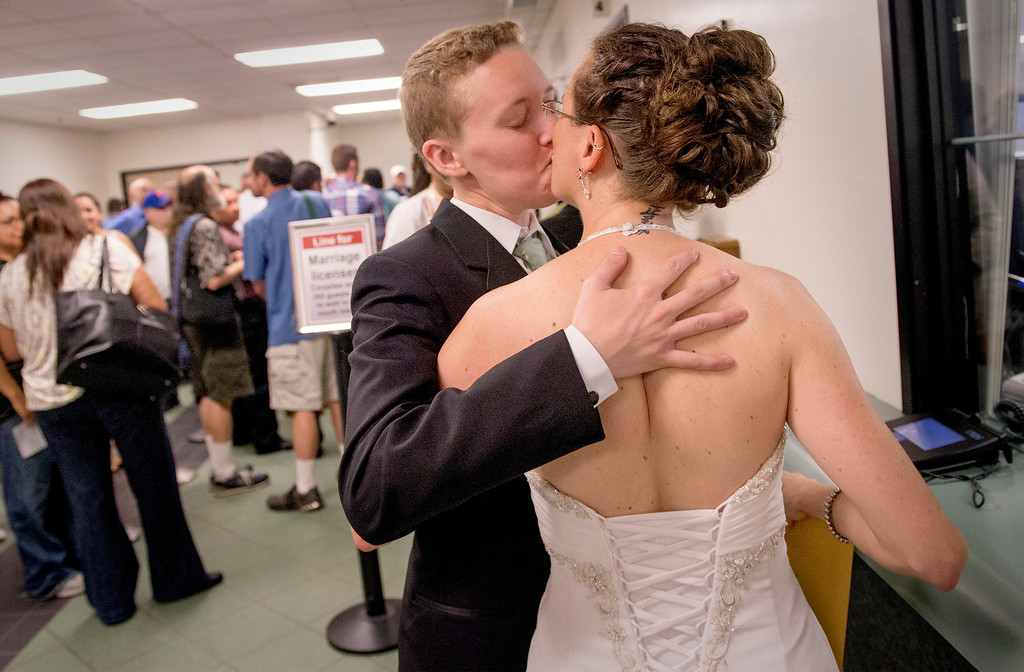 . Lorelei, 32, left, and Amy, 31, Trangsrud (cq) of Pasadena receive their marriage license at the Los Angeles County Registrar-Recorder/County Clerk office in Norwalk, Ca. July 1, 2013.   (SGVN staff photo by Leo Jarzomb)