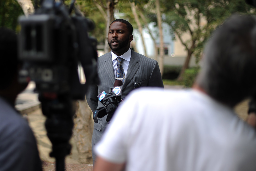 . Former Dodger Milton Bradley talks to the media outside Van Nuys Superior Court July 2, 2013. Bradley was in court for sentencing on his convictions on 9 misdemeanor counts steaming from incidents involving his estranged wife. (Hans Gutknecht/Los Angeles Daily News)
