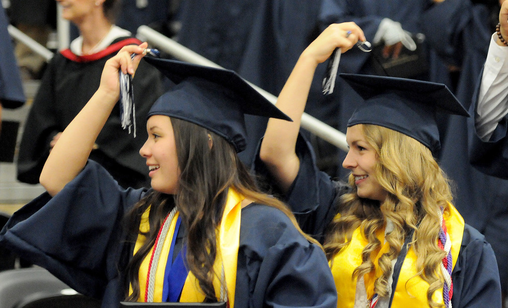 . Students at Northridge Academy High School move their tassels at the end of the graduation ceremony on Thursday, June 5, 2014. (Photo by Dean Musgrove/Los Angeles Daily News)
