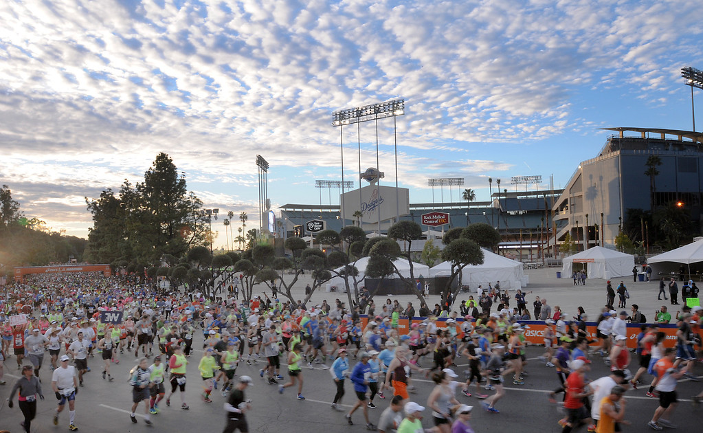 . Runners start the marathon on Sunday, March 09, 2014.  The L.A. Marathon begins at Dodger Stadium and passes through four cities, ending in Santa Monica.  (Photo by Dean Musgrove/Los Angeles Daily News)