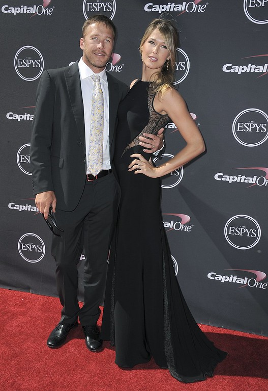 . Skier Bode Miller, left, and Morgan Miller arrive at the ESPY Awards on Wednesday, July 17, 2013, at Nokia Theater in Los Angeles. (Photo by Jordan Strauss/Invision/AP)