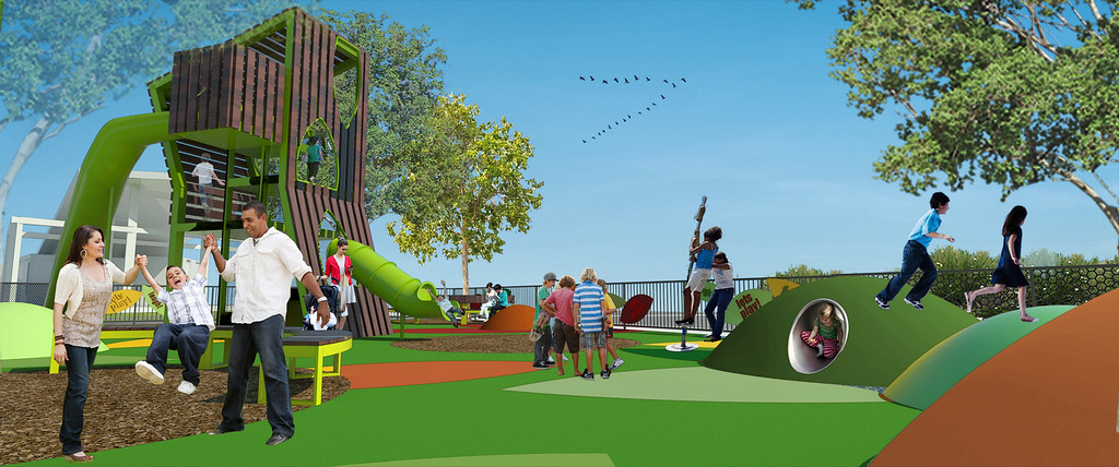 . Artist rendering of the Grand Park innovative new play area. The play area is slated to open in November 2014. Los Angeles, CA. 7/30/2014 (Rendering Courtesy of Rios Clementi Hale)