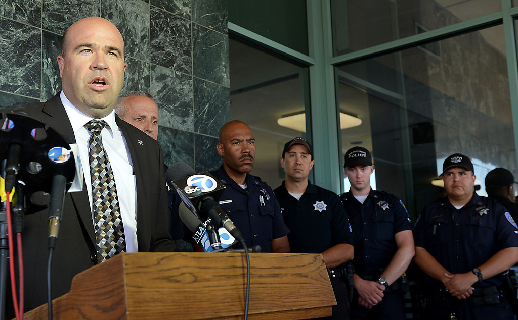 . San Bernardino Police Chief Jarrod Burguan holds a press conference to discuss the death of Officer Shaun Jarvis, 30, of Beaumont, a motorcyle officer, who died in an off-duty crash on the 91 Freeway on Thursday April 30, 2014. (Photo by Rick Sforza/The Sun)
