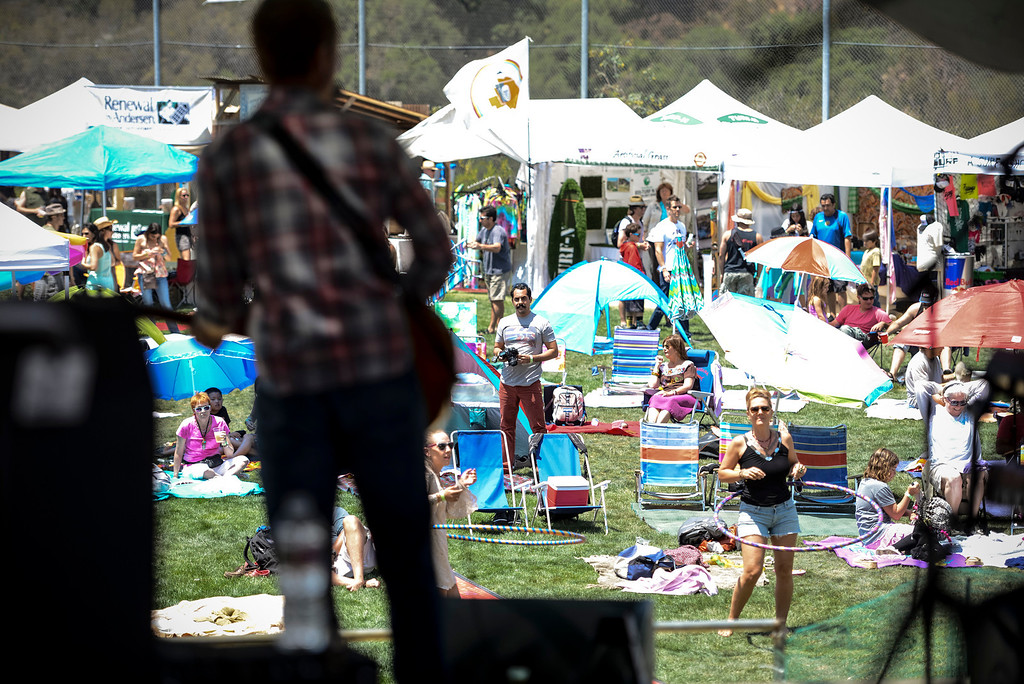 """. Topanga Days visitors rock out to the tunes of \""""Franchot Tone\"""" at the 40th annual Topanga Days celebration in Topanga Sunday.  The celebration continues Monday with more bands scheduled to perform.   Photo by David Crane/Los Angeles Daily News"""