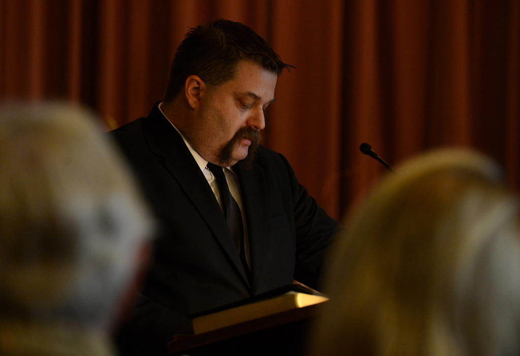 . Dixie\'s caretaker Luke Littell pauses while talking about Dixie during a memorial service for Dixie Evans Sunday, September 1, 2013, at Palm Mortuary in Las Vegas. Jennifer Cappuccio Maher/Inland Valley Daily Bulletin