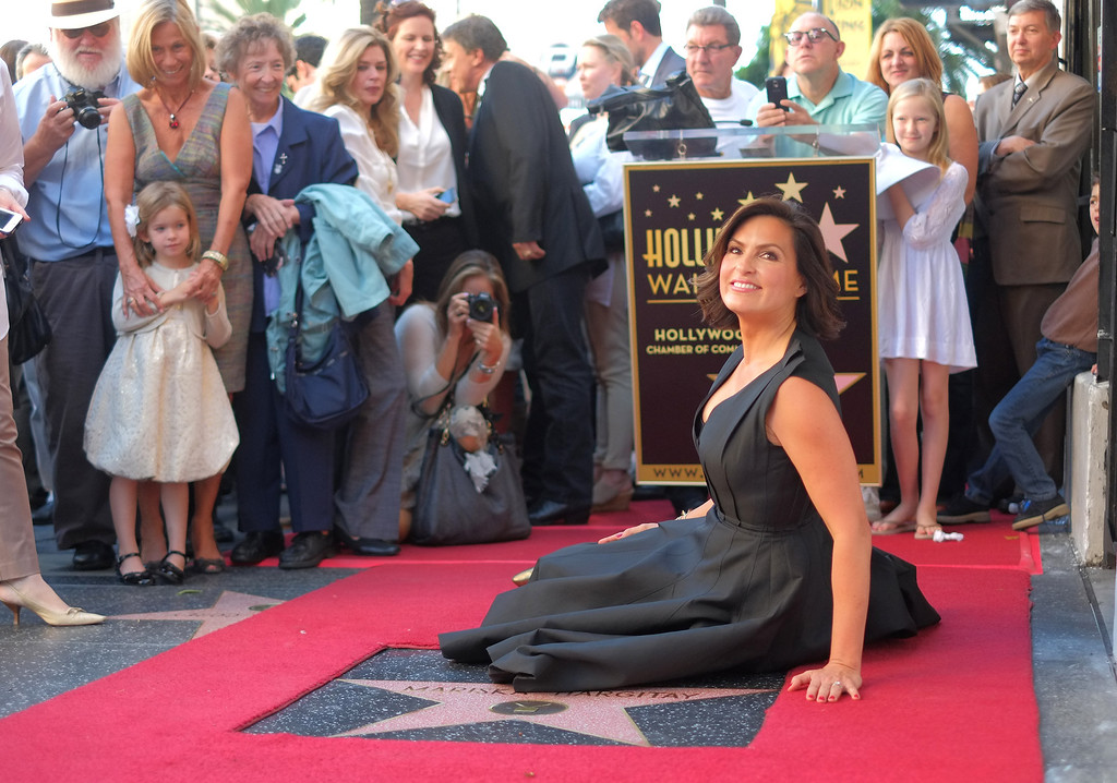 . Actress Mariska Hargitay is honored with a star on the Hollywood Walk of Fame on November 8, 2013 in Hollywood, California. The star was placed next to that of Hargitay\'s mother actress Jayne Mansfield.           (JOE KLAMAR/AFP/Getty Images)