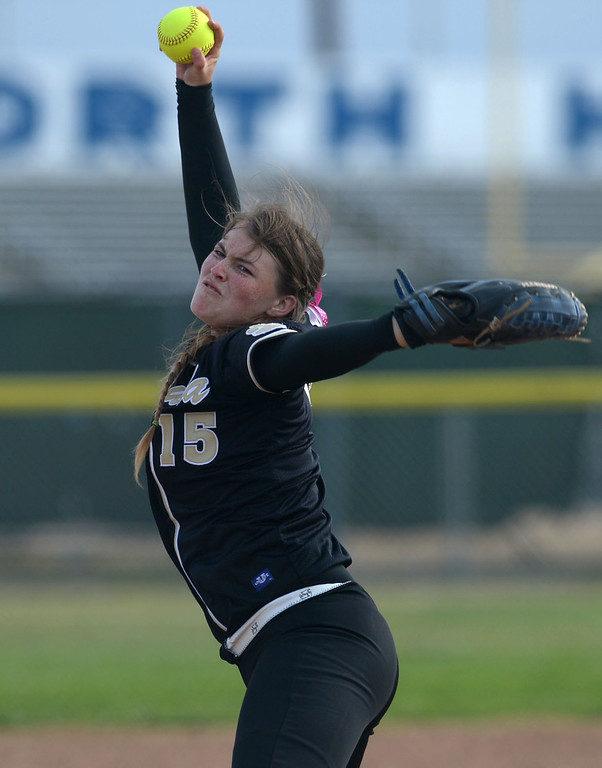 . Peninsula\'s Cassie Lajeunesse (15) delivers a pitch to North in a first round CIF SS Division III softball game Thursday in Torrance. Peninsula won 4-1. 20130516 Photo by Steve McCrank / Staff Photographer