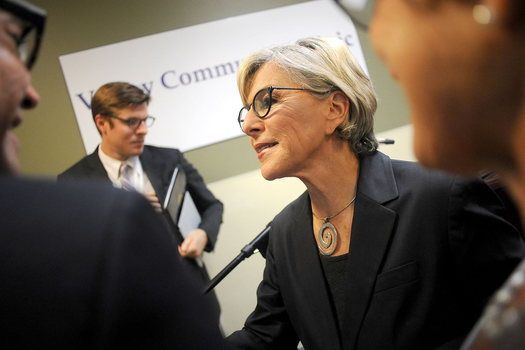 . U.S. Senator Barbara Boxer talks to attendees following her press conference at the Valley Community Clinic in North Hollywood to discuss how the Affordable Care Act is expanding access to quality, affordable health care for millions of Californians August 22, 2013.(Andy Holzman/Los Angeles Daily News)