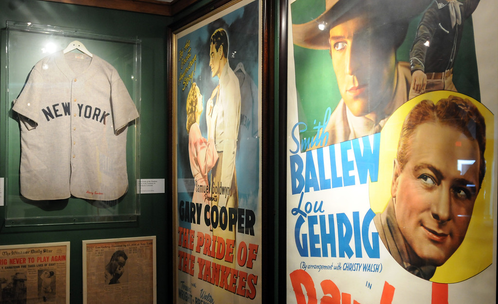 """. The jersey worn by Gary Cooper in \""""The Pride of the Yankees\"""" is included in the \""""Baseball!\"""" exhibit.The Exhibition opens April 4, 2014 at the Ronald Reagan Presidential Library and Museum.  Running through September 4, 2014, Baseball is a 12,000 square foot exhibition featuring over 700 artifacts, including some of the rarest, historic and iconic baseball memorabilia.  (Photo by Dean Musgrove/Staff Photographer)"""