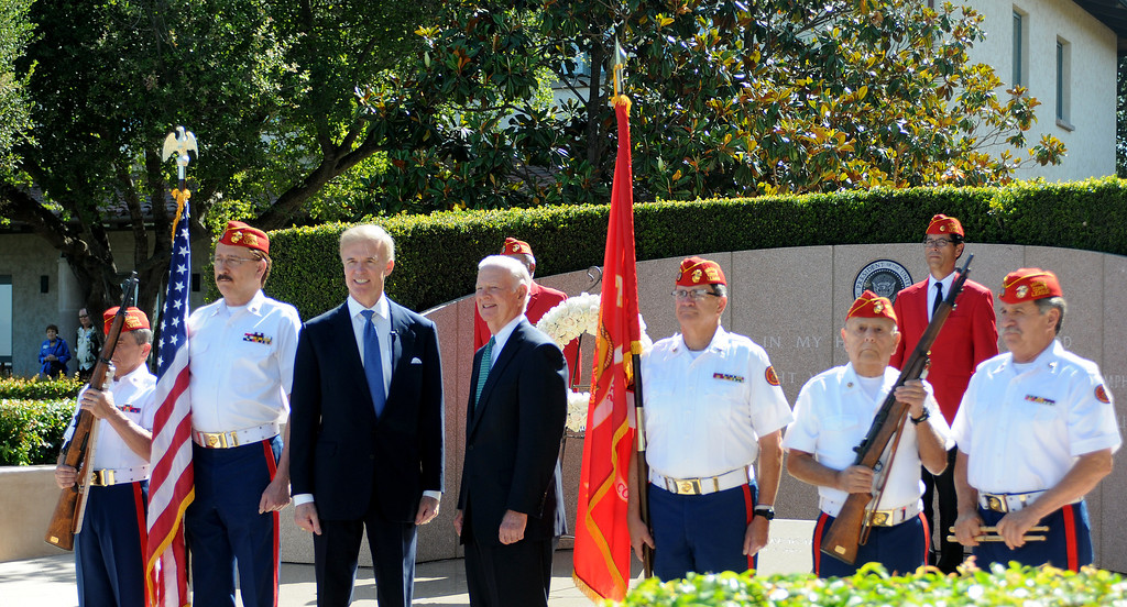. On June 5, 2014, the Ronald Reagan Presidential Foundation commemorated anniversaries with a special program at his Presidential Library that focused on his legacy and impact on the country after so many years since leaving office.  Wreath Laying Ceremony at President Reagan�s Gravesite included Secretary James Baker and Reagan Foundation Board Chairman Frederick J. Ryan, Jr., center, with the assistance of the Marine Corps League President Ronald Reagan Detachment. (Photo by Dean Musgrove/Los Angeles Daily News)