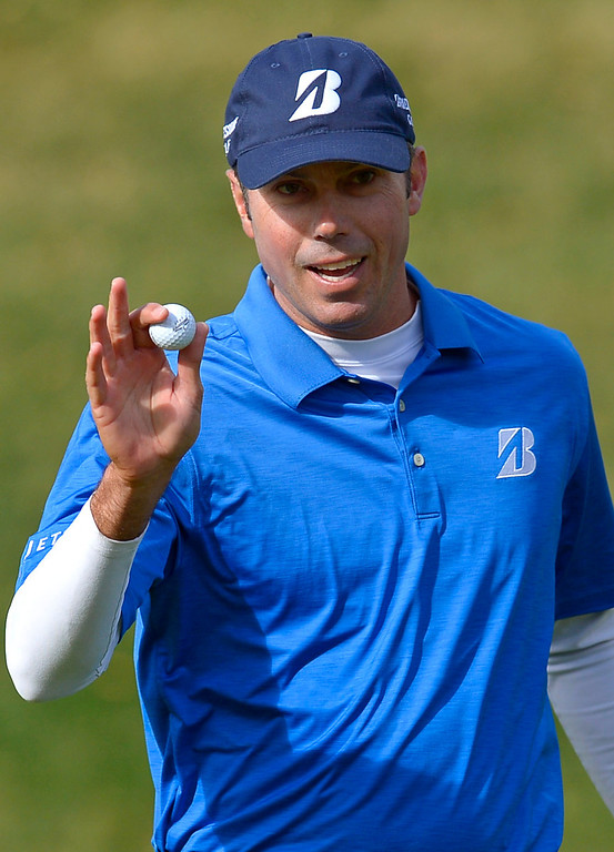 . Matt Kuchar reacts after sinking in a birdie putt on the first hole during the final round of the Northwestern Mutual World Challenge golf tournament at Sherwood Country Club, Sunday December 8, 2013, in Thousand Oaks, Calif.(Andy Holzman/Los Angeles Daily News)