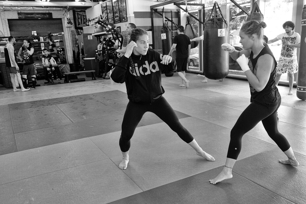 . Marina Shafir and Ronda Rousey train at the Glendale Fighting Club in Glendale, CA.  (Photo by Hans Gutknecht/Los Angeles Daily News)