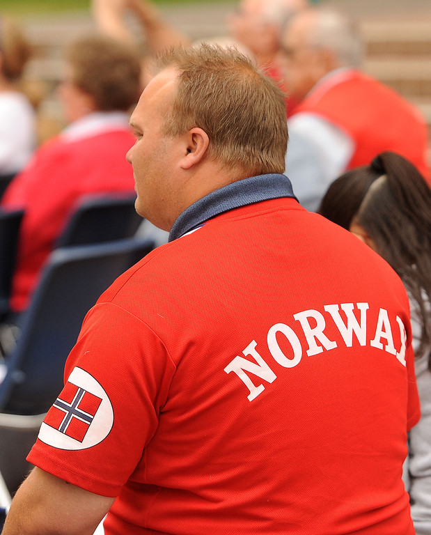 . A man wears a Norway shirt during a Norway Constitution Day celebration in downtown San Bernardino May 17, 2013.  GABRIEL LUIS ACOSTA/STAFF PHOTOGRAPHER.