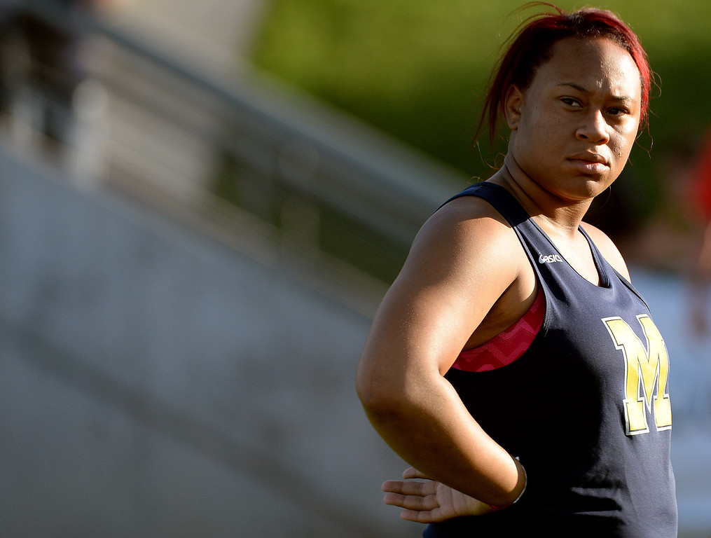 . Muir\'s shot putter Tierra Adams during the CIF California State Track & Field Championships at Veteran\'s Memorial Stadium on the campus of Buchanan High School in Clovis, Calif., on Saturday, June 7, 2014. 