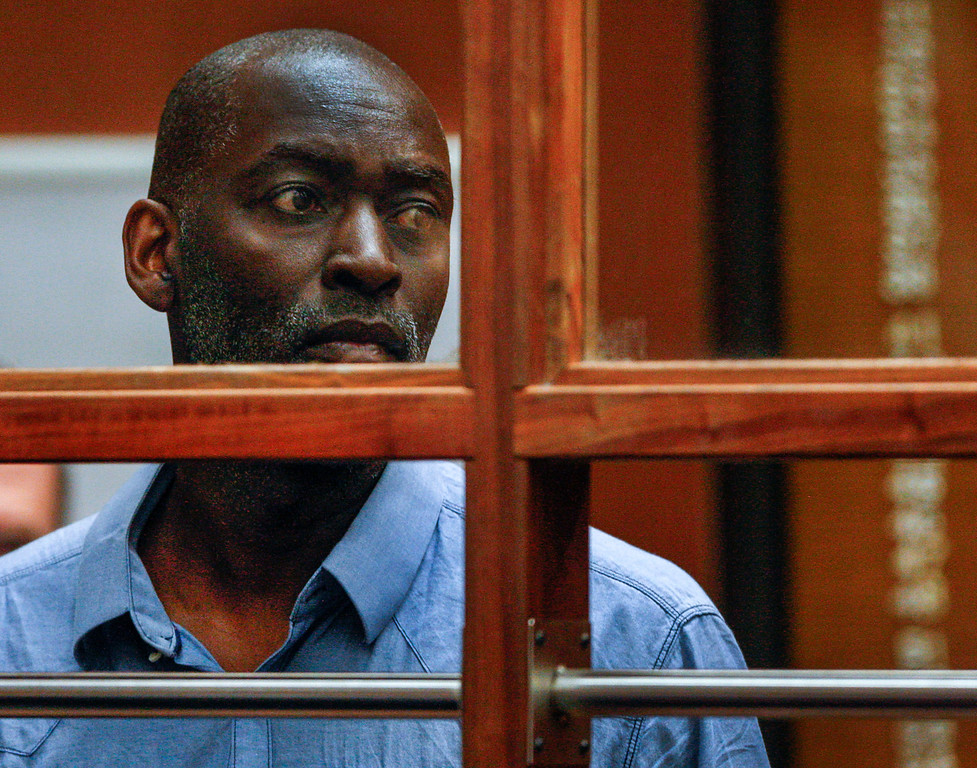 """. Actor Michael Jace appears in court in Los Angeles Thursday, May. 22, 2014. A judge has delayed the arraignment of Jace on a murder charge filed over his wife\'s shooting death earlier this week. Attorneys for Jace, who played a police officer in the hit TV series \""""The Shield,\"""" sought a continuance during the actor\'s first court appearance in Los Angeles on Thursday. He\'s due back in court June 18. The 51-year-old was charged Thursday with a single count of murder and he is accused of shooting his wife April multiple times in their home Monday evening. (AP Photo/David McNew, Pool)"""