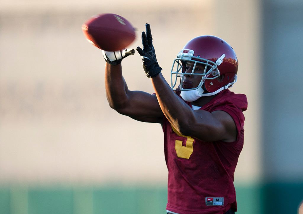 . JuJu Smith #9 during practice at USC, Howard Jones Field on the USC campus in Los Angeles, Monday, August 4, 2014. (Photo by Hans Gutknecht/Los Angeles Daily News)