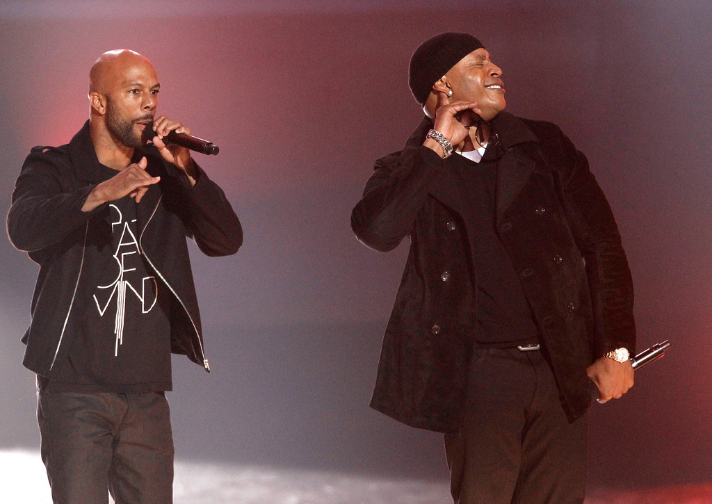. Common, left, and LL Cool J perform at the Grammy Nominations Concert on Wednesday, Nov. 30, 2011 in Los Angeles. (AP Photo/Matt Sayles)