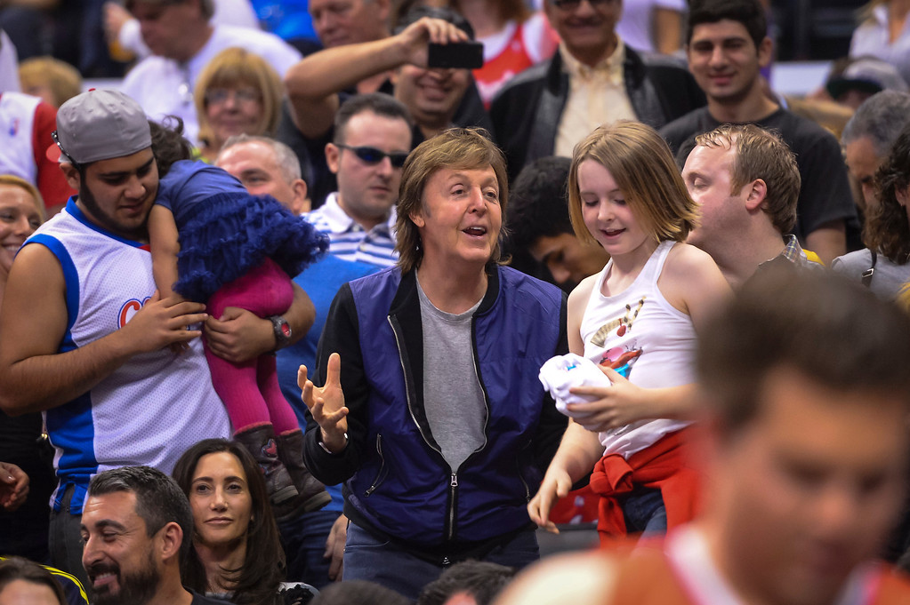 . Sir Paul McCartney watches the Clippers take on the Lakers at Staples Center Sunday April 6, 2014. Clippers defeated the Lakers 120-97.  ( Photo by David Crane/Los Angeles Daily News )