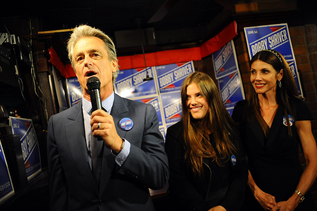 . District 3 Supervisor candidate Bobby Shriver greets supporters during his election night party in Santa Monica June 3, 2014. .(Andy Holzman/Los Angeles Daily News)