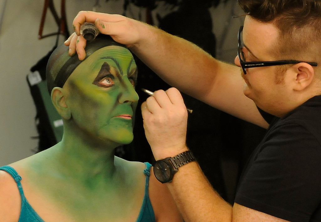 . The eyes get an exaggerated peak to rise up into the exaggerated eyebrow. Jacquelyn Piro Donovan is transformed into the Wicked Witch by makeup artist Michael King. The Wizard of Oz is being staged at the Pantages Theatre in Hollywood, CA. 9/25/2013. photo by (John McCoy/Los Angeles Daily News)