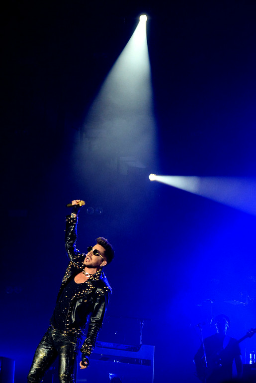 . Adam Lambert performs with Queen at The Forum in Inglewood, Calif., on Thursday, July 3, 2014.  (Keith Birmingham Pasadena Star-News)