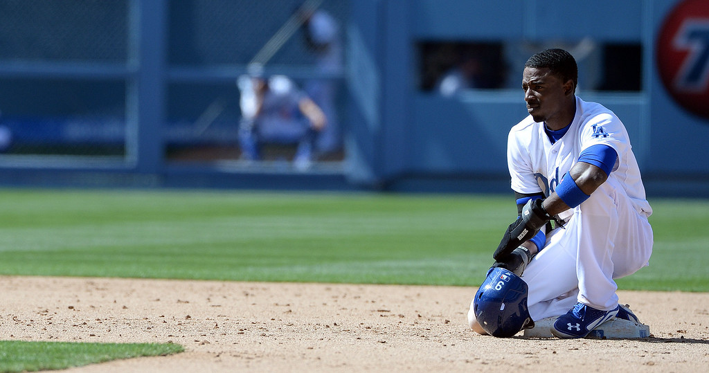 . Los Angeles Dodgers\' Dee Gordon after a RBI double in the seventh inning of a Major league baseball game against the San Francisco Giants on Saturday, May 10, 2013 in Los Angeles.   (Keith Birmingham/Pasadena Star-News)