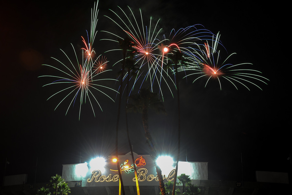 . Fireworks explode above the Rose Bowl during the Americafest fireworks show, Thursday, July 4, 2013. (Michael Owen Baker/L.A. Daily News)