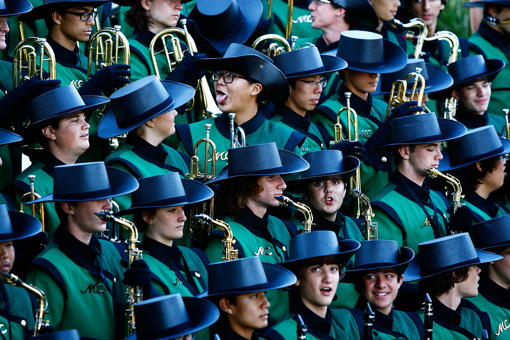 . Members of the Mira Costa Band pose during a group photo before kickoff against Palos Verdes in a Bay League matchup at Mira Costa High School on Friday, October 18, 2013 in Manhattan Beach, Calif.  (Michael Yanow / For the Daily Breeze)