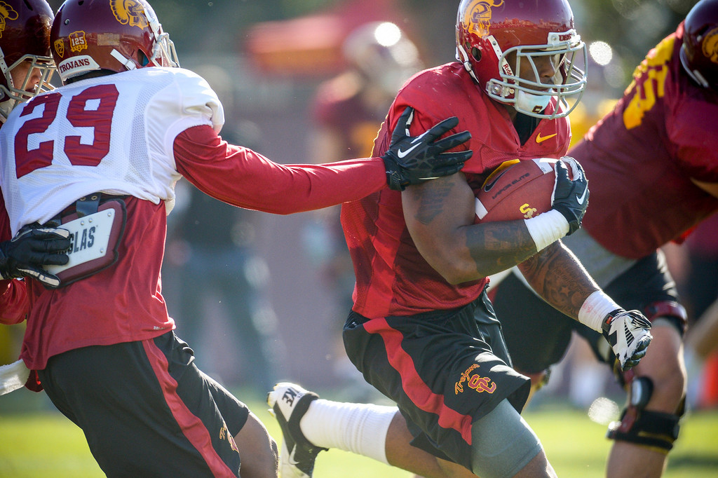 . USC�s Tre Madden during spring practice at USC Tuesday, April 15, 2014.  (Photo by David Crane/Los Angeles Daily News.)