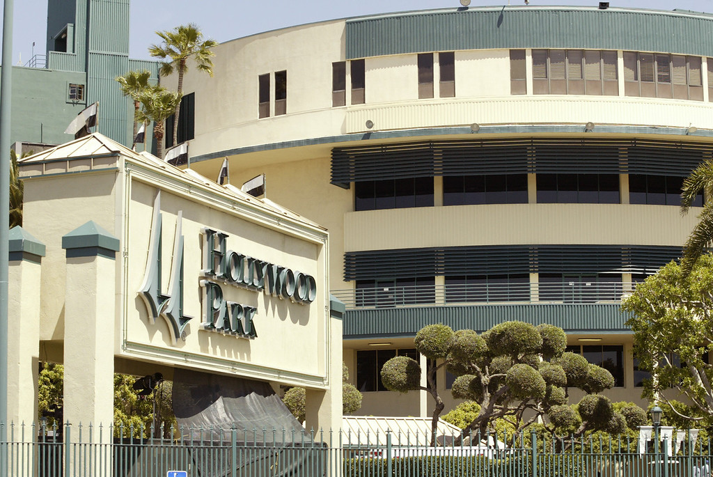 . In this photo provided by Benoit Photo, the grandstand facade of Hollywood Park in Inglewood, Calif. is seen Wednesday, July 6, 2005. (AP Photo/Benoit Photo)