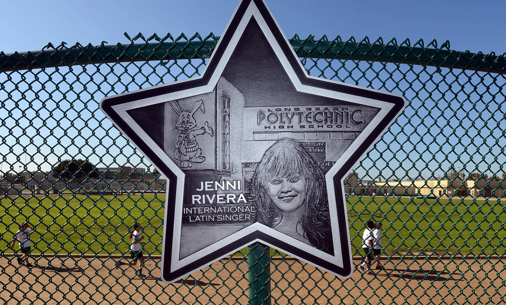 . Lakewood, Calif., --12-10-12 - Singer Jenni Rivera was honored in July 2011 with a star on the Poly Walk of Fame, located along Martin Luther King Boulevard between 16th and 17th Street, behind Poly High School, where she attended. The  Long Beach native and Jenni Rivera 43, who was killed in plane crash in Mexico Sunday after Rivera had performed a concert in Monterrey, Mexico, on Saturday night.   Stephen Carr/  LANG