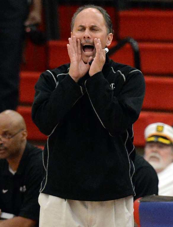 . Renaissance Academy head coach Sid Cooke in the first half of a CIF Southern California Regional Division basketball game against View Park at Colony High School in Ontario, Calif., on Saturday, March 22, 2014.  (Keith Birmingham Pasadena Star-News)