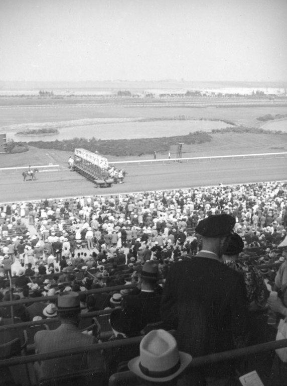 . Horses out of the gate at Hollywood Park in 1938.   (Los Angeles Public Library)