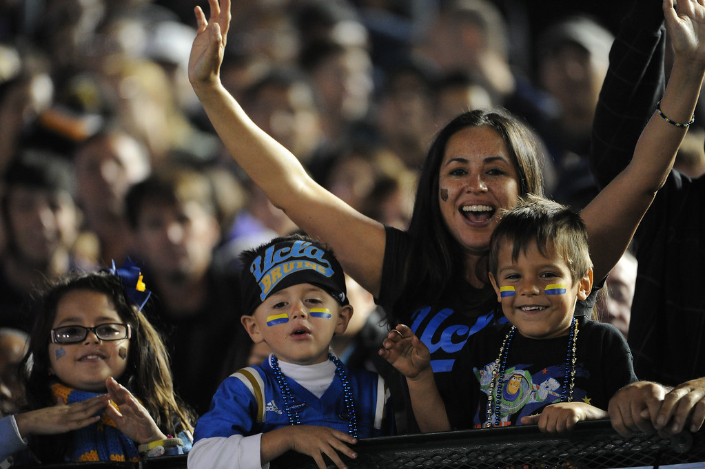 . UCLA Bruins fans during the first half of their college football game against the Washington Huskies in the Rose Bowl in Pasadena, Calif., on Friday, Nov. 15, 2013.  UCLA won 41-31. 