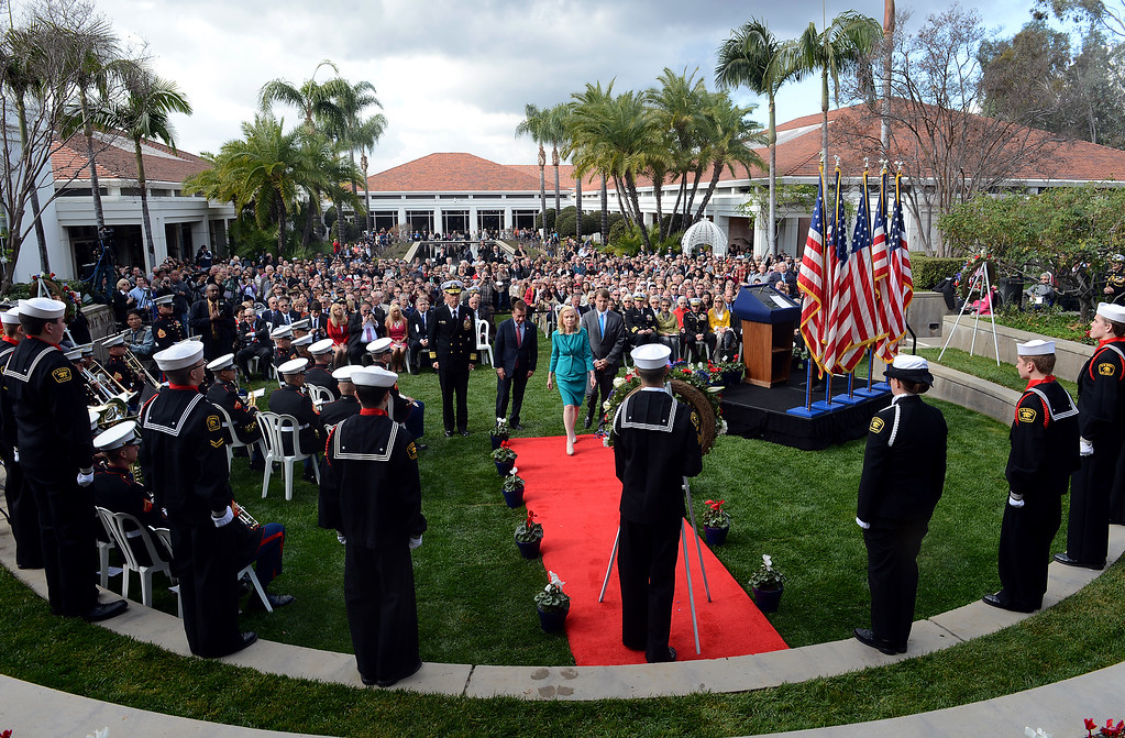 . Tricia Nixon Cox, eldest daughter of President Richard Nixon, approaches the wreath to present as the Richard Nixon Presidential Library holds a ceremony commemorating the 100th anniversary of the birth of President Richard Nixon Sunday, January 6, 2013, at the Richard Nixon Presidential Library in Yorba Linda.   (Jennifer Cappuccio Maher/Inland Daily Bulletin)