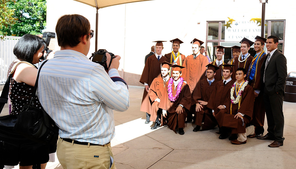 . Grads pose for photos during the Crespi High class of 2013 graduation. May 24.2013.  Photos by Gene Blevins/LA DailyNews
